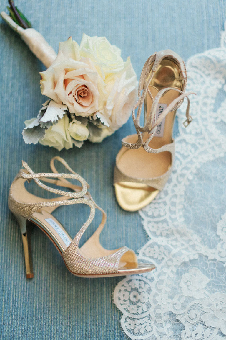 Bridal Champagne Gold Open Toed Jimmy Choo Wedding Shoes with Bridal Bouquet Portrait