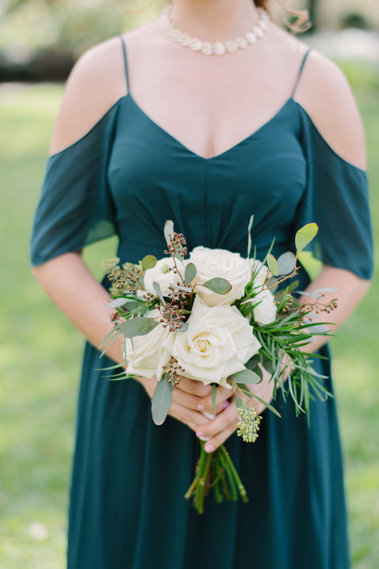 Hunter Green Chiffon Bridesmaids Dress from LuLus.com with Ivory Rose and Eucalyptus Wedding Bouquet