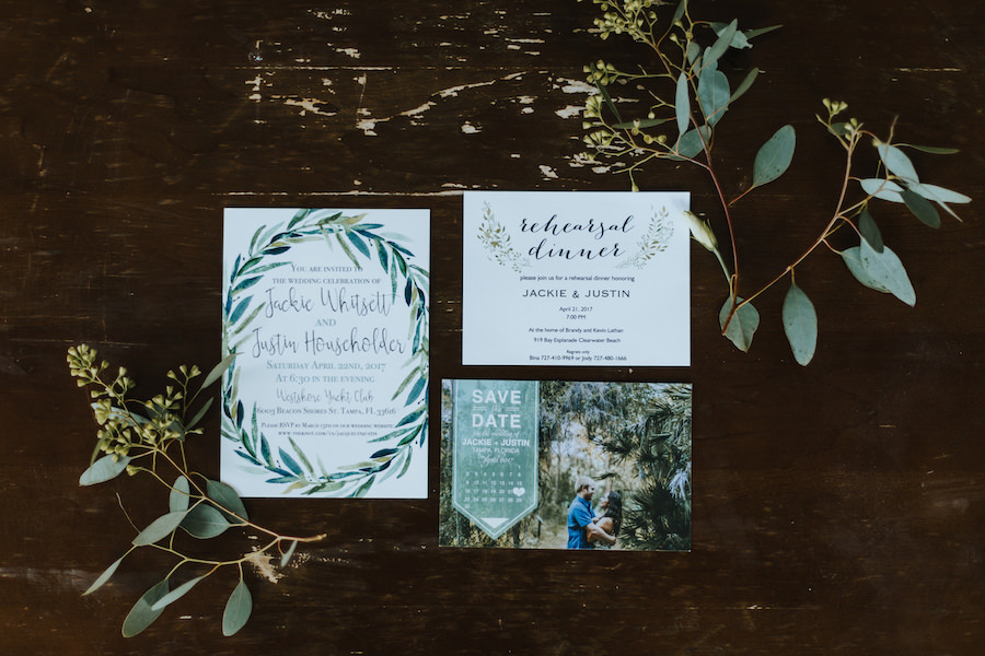 Boho Chic Green and Ivory Wedding Invitation Suite