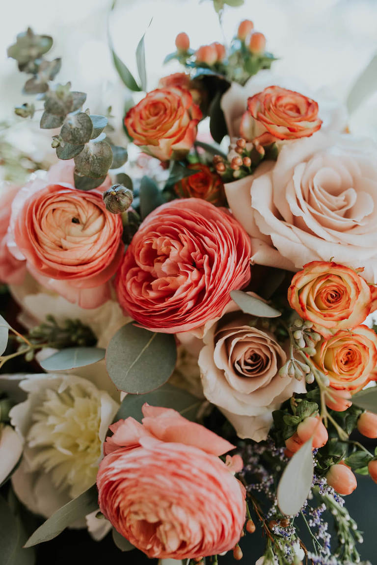 Peach and Blush Pink Wedding Bouquet with Greenery | Vintage Boho Wedding Inspiration | Tampa Wedding Florist Northside Florist