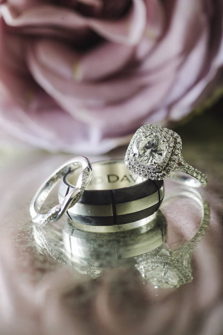 Halo Cushion Cut Engagement Wedding Ring and Black Groom Band