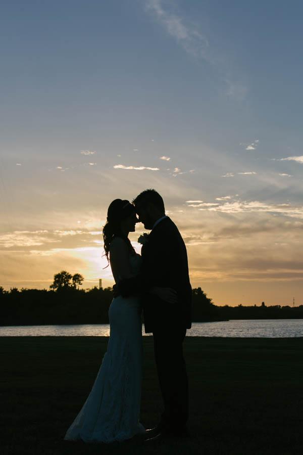 Bride and Groom Sunset Wedding Portrait   Tampa Bay Wedding Videographer Hatfield Productions