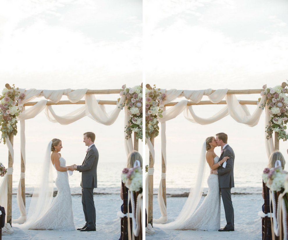White and Blush Pink Dusty Rose Wedding Ceremony Floral Arrangement with White Ivory Hydrangeas with Greenery on Bamboo Wooden Altar with Draping | Clearwater Beach Wedding Planner Parties a la Carte | Photographer Marc Edwards Photographs