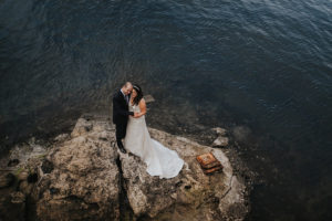 Bride and Groom Wedding Portrait with Waterfront View | Downtown Tampa Wedding Photographer Rad Red Creative