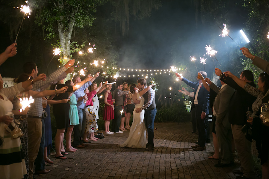 Bride and Groom Wedding Sparkler Exit Portrait at Cross Creek Ranch | Tampa Bay Wedding Photographer Carrie Wildes Photography