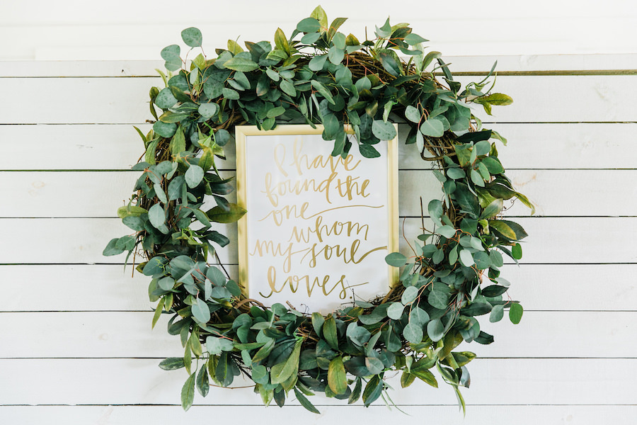 Greenery Plant Wedding Wreath Decor with Wedding Sign   Rustic, Country Wedding Inspiration   Tampa Bay Wedding Reception