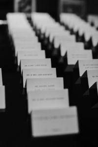 Elegant Traditional White and Black Wedding Place Seating Cards