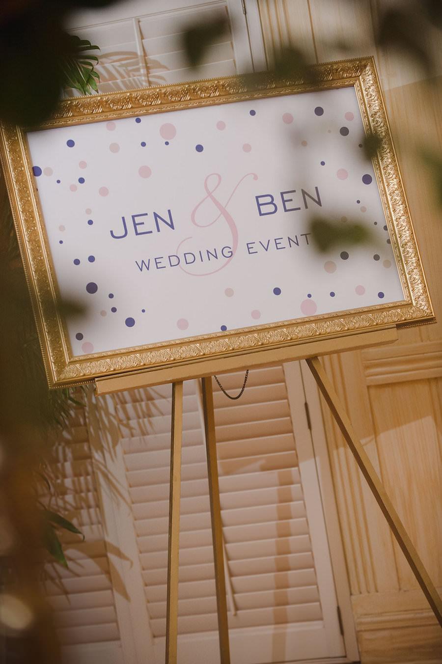 Pink and Blue Polka Dot Wedding Sign in Gold Frame | Wedding Reception Decor Inspiration