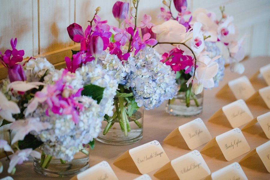 Purple and Blue Hydrangea Floral Arrangement Centerpieces with Wedding Place Cards