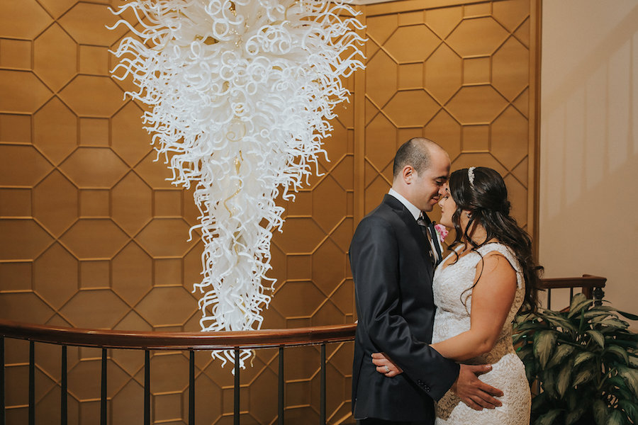Bride and Groom Wedding Portrait with Chuliy Chandelier | Downtown Tampa Wedding Photographer Rad Red Creative | Private Event Venue The Tampa Club