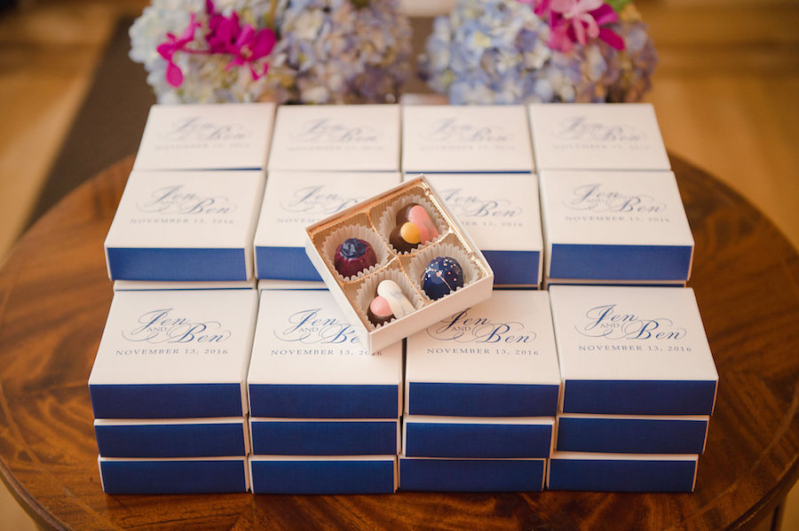 Mini Chocolate Wedding Favors with Monogram Gift Boxes