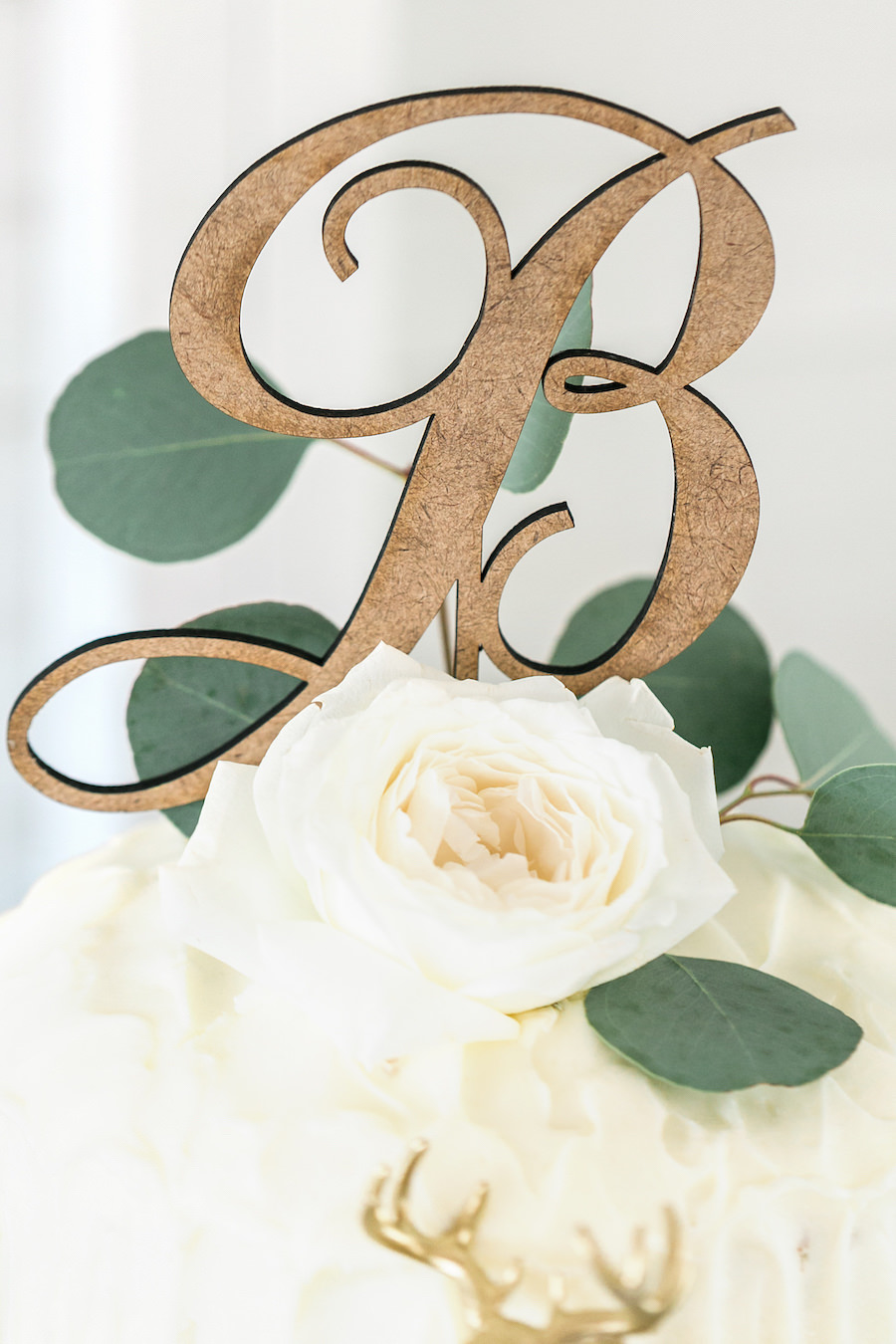 Wooden Initial Wedding Cake Topper with Greenery   Rustic, Country Wedding Reception Decor Inspiration