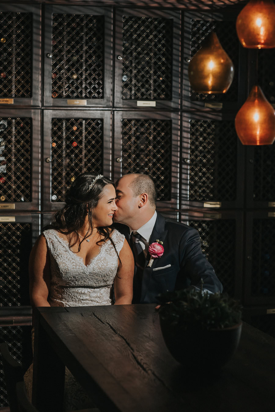 Bride and Groom Wedding Portrait in Wine Cellar | Downtown Tampa Wedding Photographer Rad Red Creative | Private Event Venue The Tampa Club