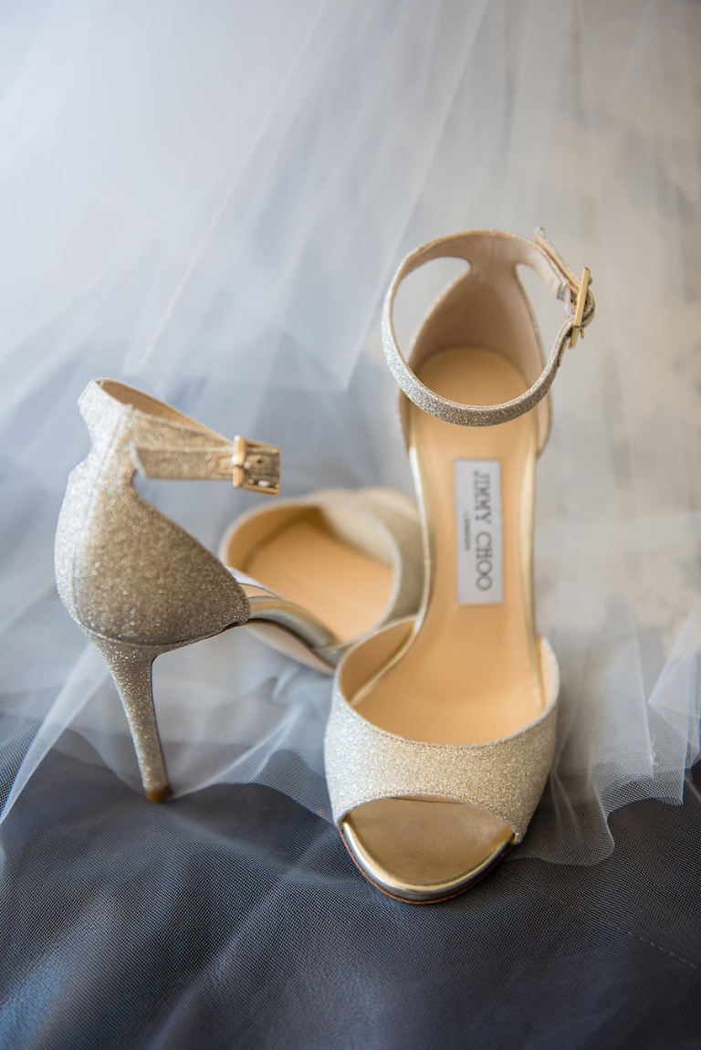 Light Gold Sparkly Jimmy Choo Wedding Shoe with Ankle Strap | Tampa Wedding Photographer Kera Photography