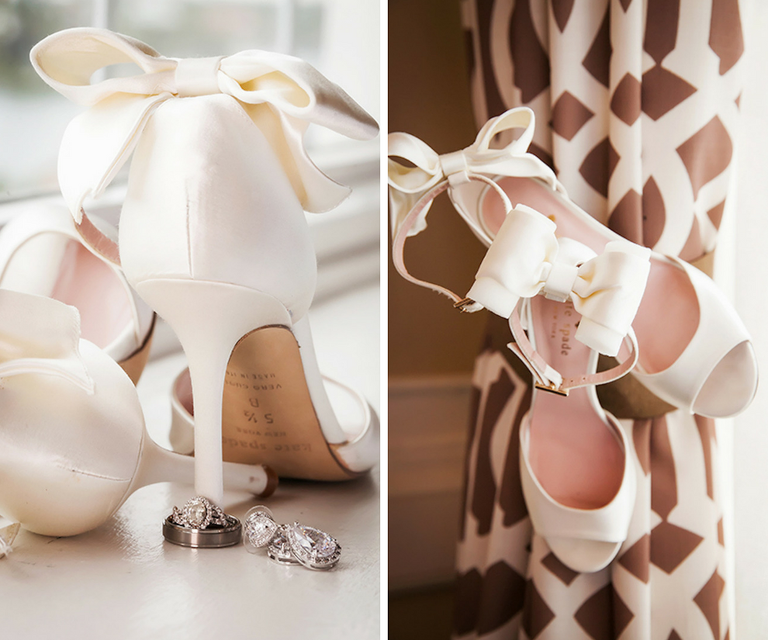 White Satin Peeptoe Wedding Shoe with Ankle Bow Detail and Wedding Rings | Kate Spade New York Izzie Bow-back Satin D'Orsay Pump In Ivory | St Pete Wedding Photographer Limelight Photography