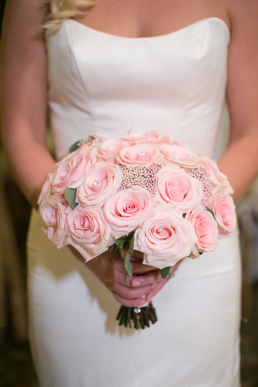 Blush Pink Rose Wedding Bouquet with Pear and Rhinestone Accents   Tampa Bay Wedding Florist Northside Florist   Wedding Photographer Carrie Wildes Photography