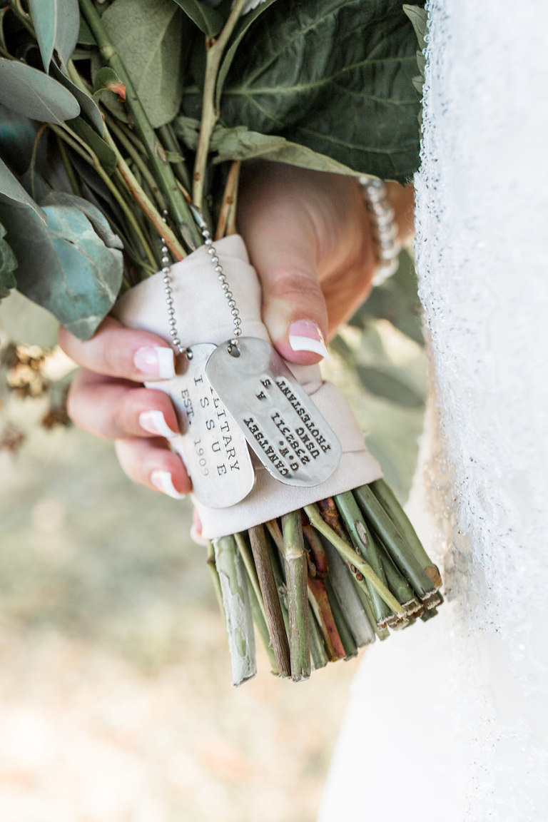 Florida Bridal Wedding Bouquet Portrait with Military Dog Tag Decor | Sarasota Wedding Planner Jennifer Matteo Event Planning