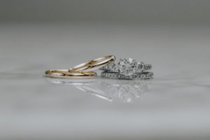 Round Diamond Engagement Ring with Gold Men's Wedding Band