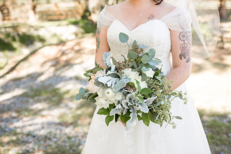 Florida Bridal Wedding Portrait with Ivory and Greenery Bridal Bouquet