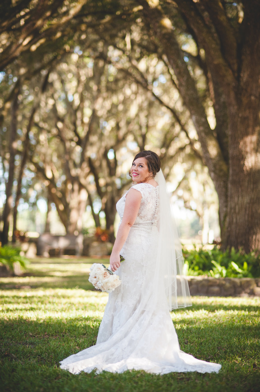 Outdoor Dade City Bride Wedding Portrait in Ivory, Lace Gown with Veil | Dade City Wedding Venue The Lange Farm