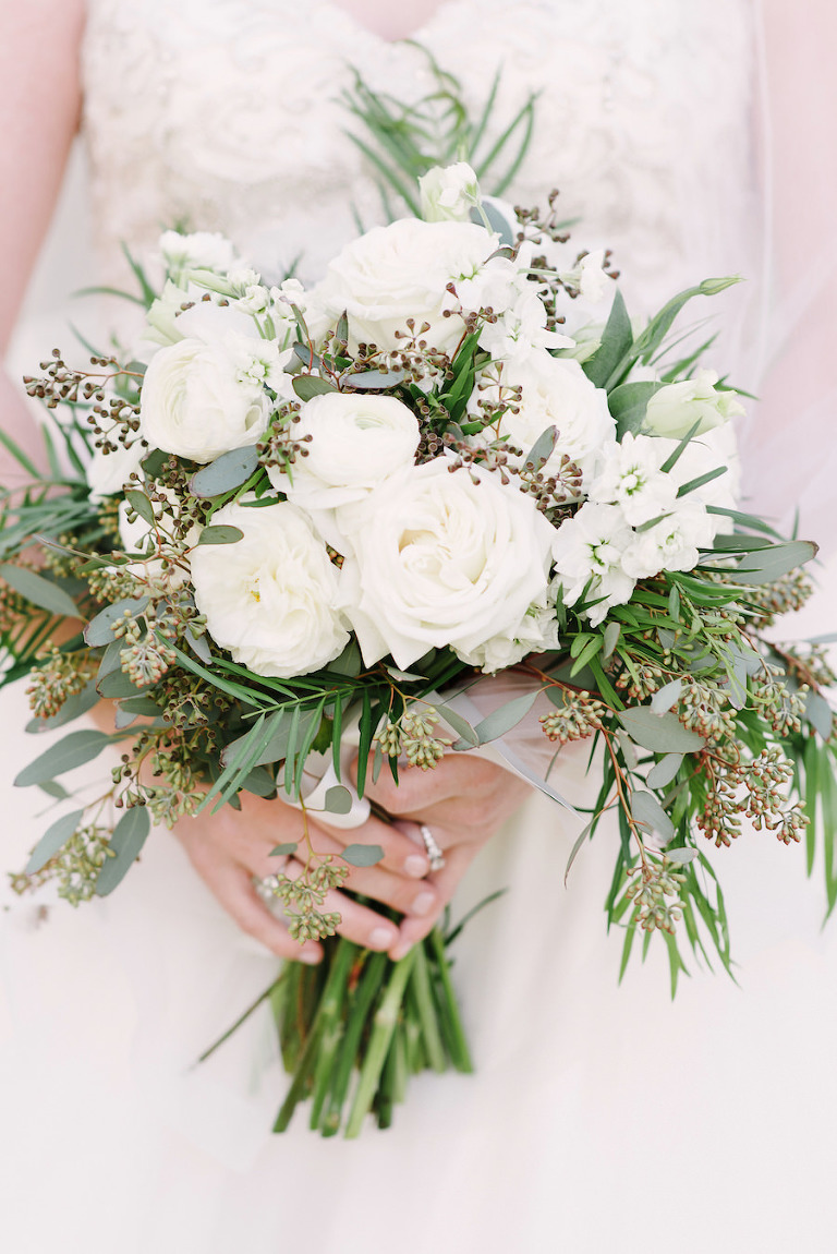 Ivory Roses and Eucalyptus Wedding Bouquet