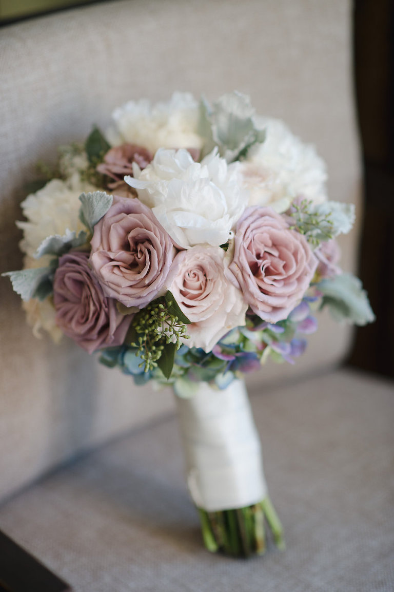 White and Blush Pink Dusty Rose Wedding Bouquet with Succulents and Greenery