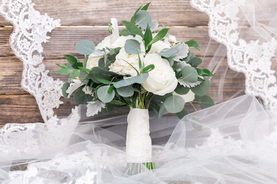 White Rose Bouquet with Greenery and Lace Wedding Veil