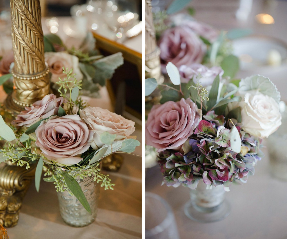 Dusty Pink Rose Low Centerpieces with Greenery | Elegant Traditional Gold Wedding Reception Decor | Clearwater Beach Wedding Planner Parties a la Carte