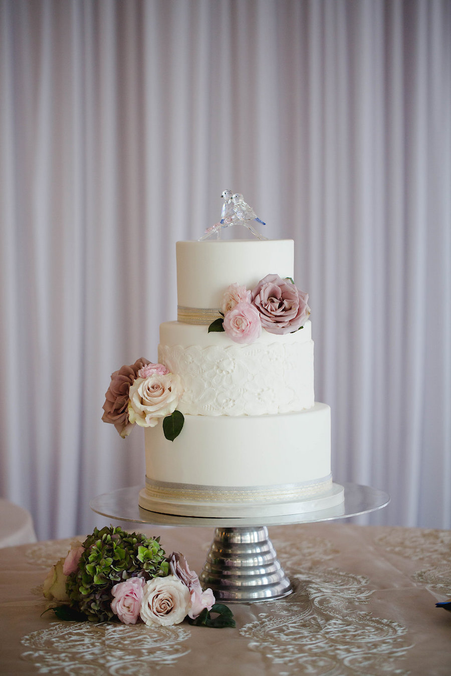 3 Tier White Wedding Cake With Dusty And Blush Pink Rose And Love
