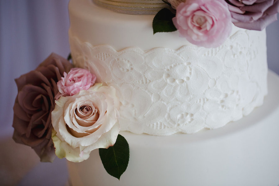 3-Tier White Wedding Cake with Dusty and Blush Pink Roses and Lace Appliqué | Clearwater Beach Wedding Cake Baker Hands on Sweets