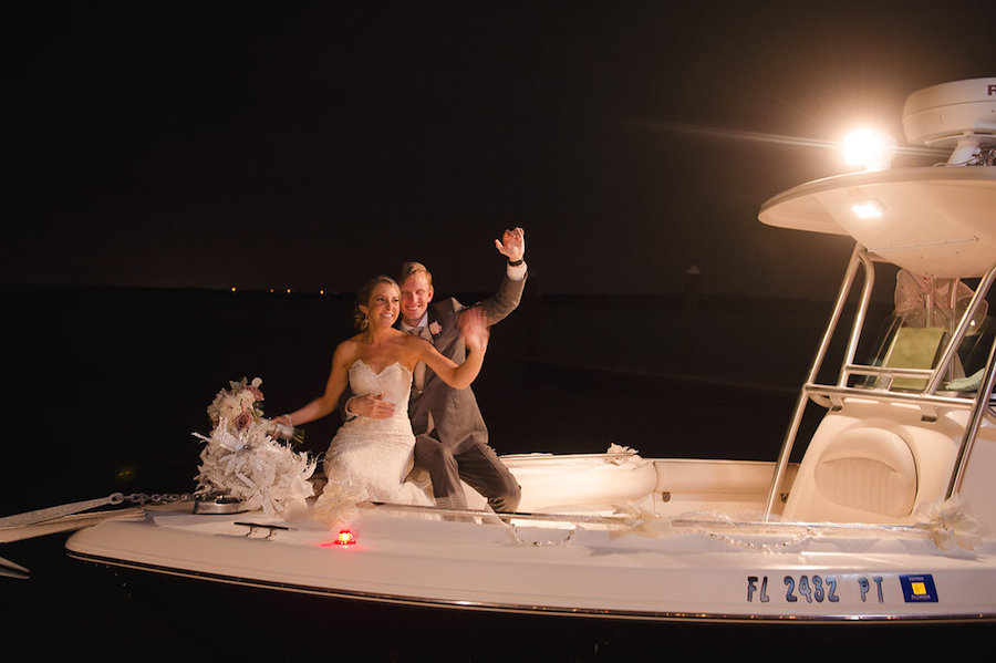 Bride and Groom Boat Sendoff Wedding Exit | Clearwater Beach Wedding Planner Parties a la Carte | Photographer Marc Edwards Photographs