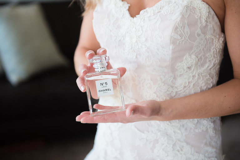 Ivory and Blush Lace Alvina Valenta Sweetheart Wedding Dress and Chanel No. 5 Perfume Wedding Portrait