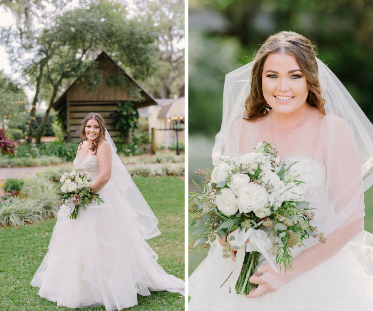 Rustic Bridal Wedding Portrait in Strapless Sweetheart Essence of Australia Tulle Skirt Wedding Gown with Beaded Bodice and Ivory Ranunculus Wedding Bouquet with Greenery