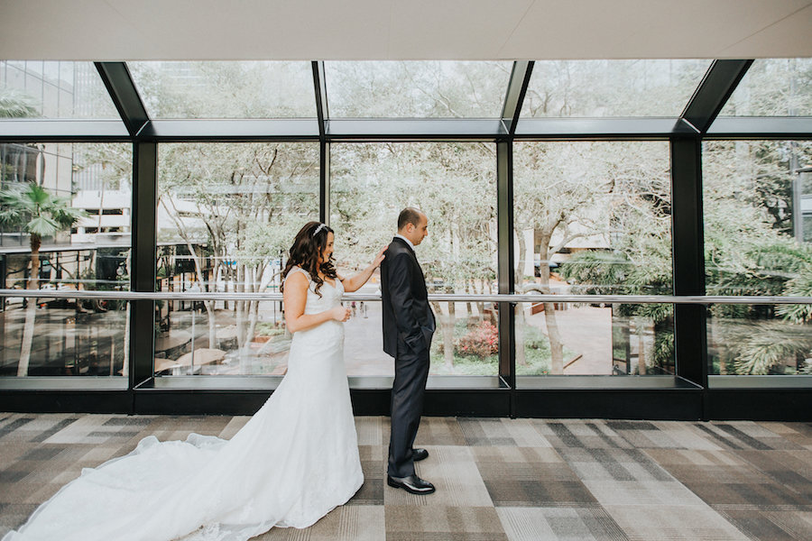 Bride and Groom First Look Wedding Portrait | Downtown Tampa Wedding Photographer Rad Red Creative