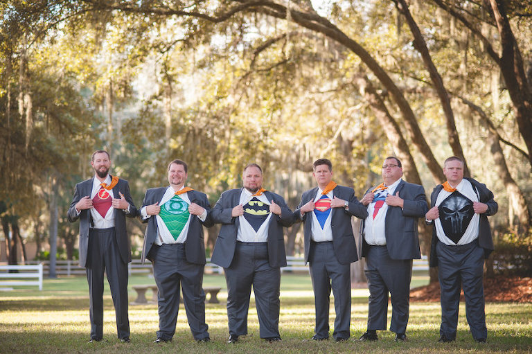 Superhero Groom and Groomsmen Wedding Party Portrait | Fun Groomsmen Wedding Picture Ideas | Dade City Wedding Venue The Lange Farm
