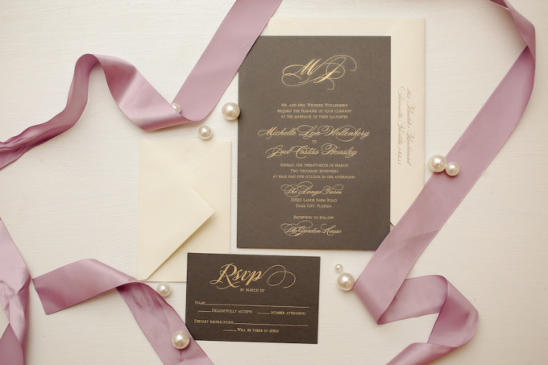Black and Gold Vera Wang Script Wedding Invitation Suite