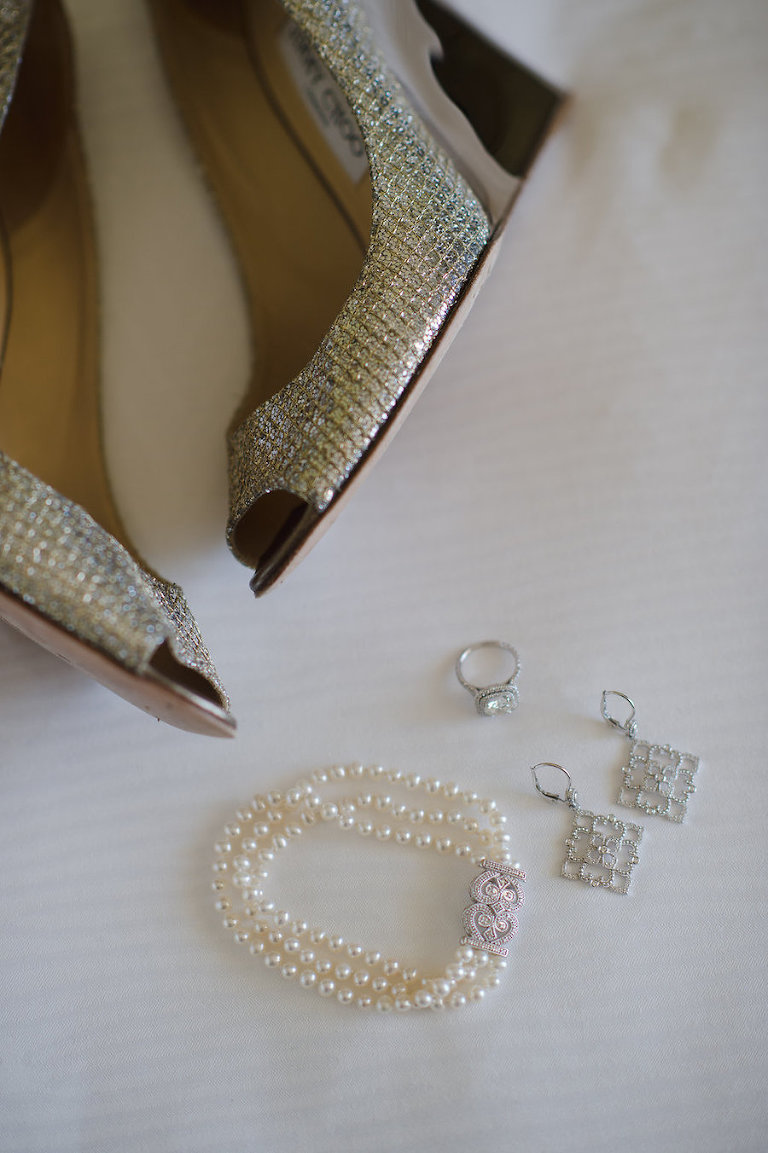 Silver Wedding Wedges Shoes, Pearl Bracelet and Diamond Earring Jewelry