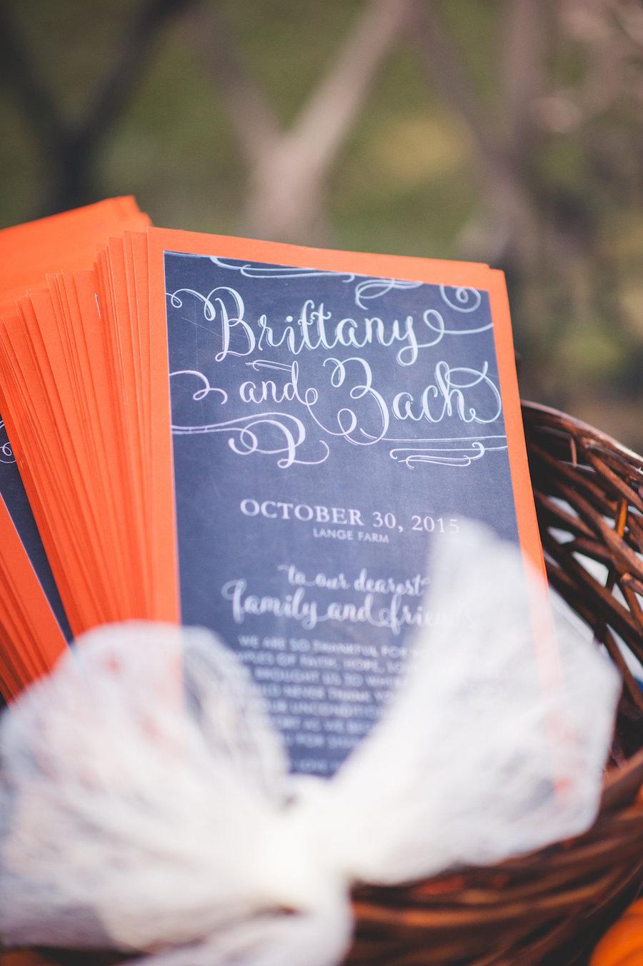 Florida Gators Inspired Wedding | Navy and Orange Chalkboard Inspired Wedding Ceremony Program