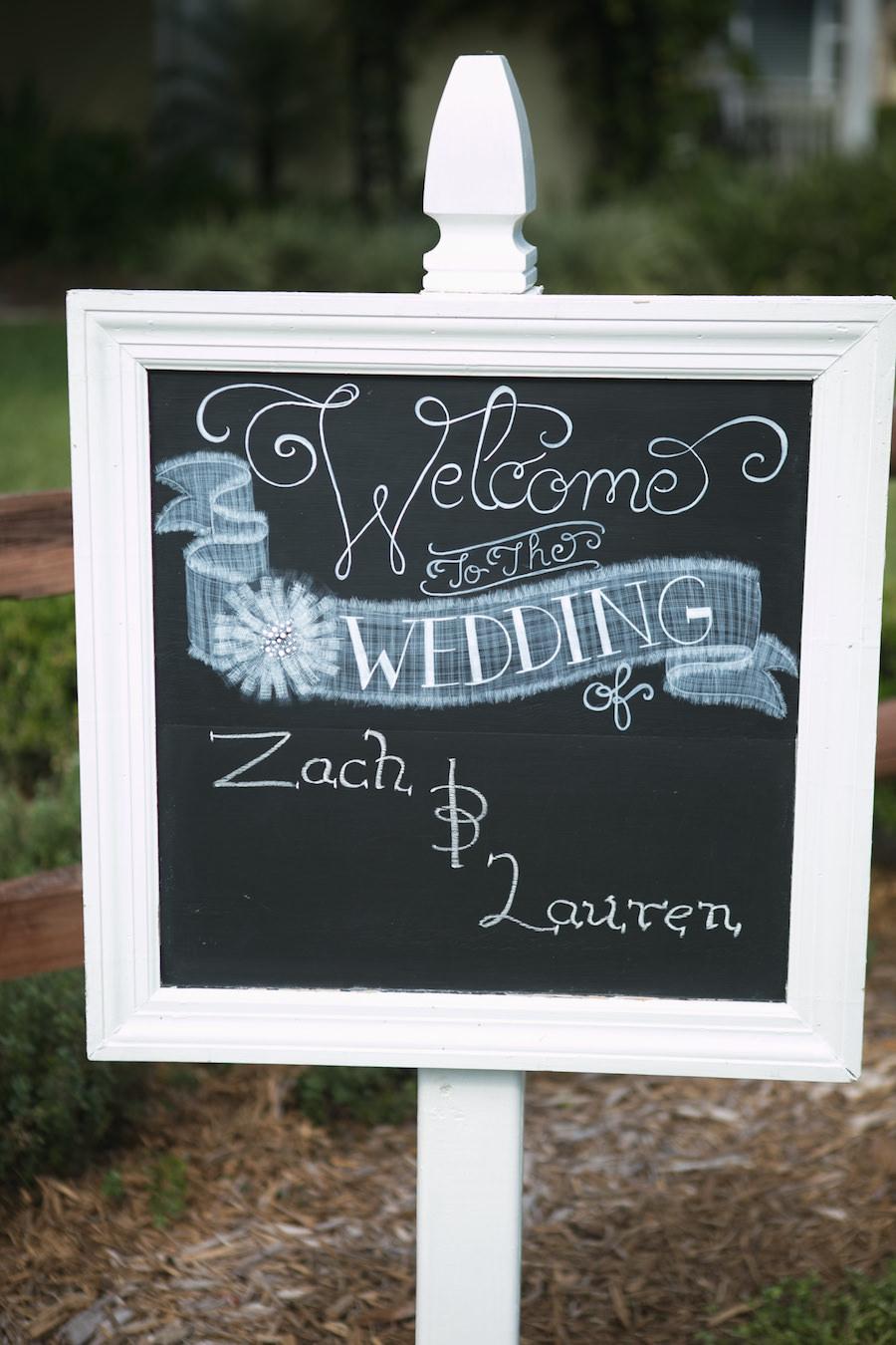Chalkboard Wedding Ceremony Welcome Sign | Rustic Wedding Ideas