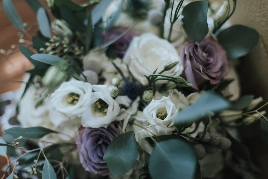 Ivory, Purple and Greenery Bridal Wedding Bouquet with Eucalyptus | Tampa Bay Wedding Florist Wonderland Floral Art