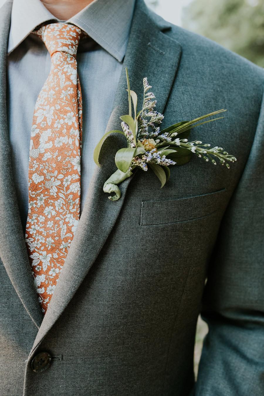 Greenery and Lavender Wedding Boutonniere with Orange Groomsmen Tie   Retro Vintage Boho Wedding Inspiration   Tampa Wedding Florist Northside Florist