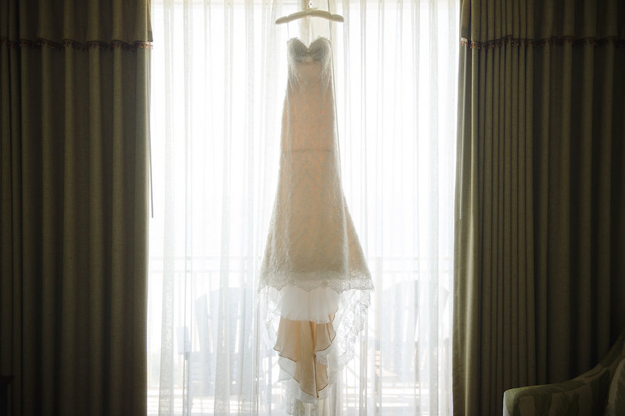 Ines di Santo Strapless Sweetheart Wedding Dress with Lace