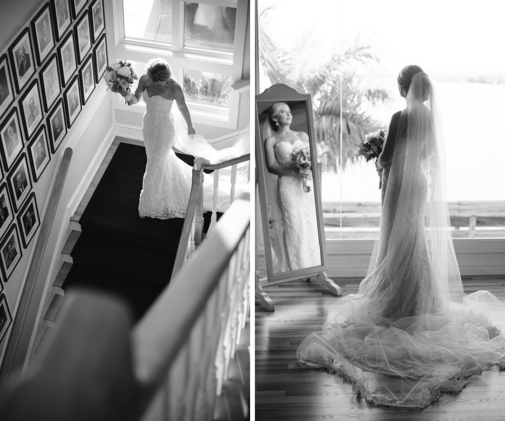 Bride Getting Ready on Wedding Day in Ines di Santo Strapless Sweetheart Wedding Dress with Lace | Clearwater Beach Wedding Photographer Marc Edwards Photographs