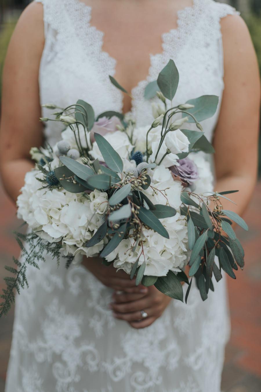 Bridal Wedding Portrait in Sleeveless Ivory Lace Wedding Dress with Ivory, Purple and Greenery Bridal Wedding Bouquet with Eucalyptus | Tampa Bay Wedding Florist Wonderland Floral Art