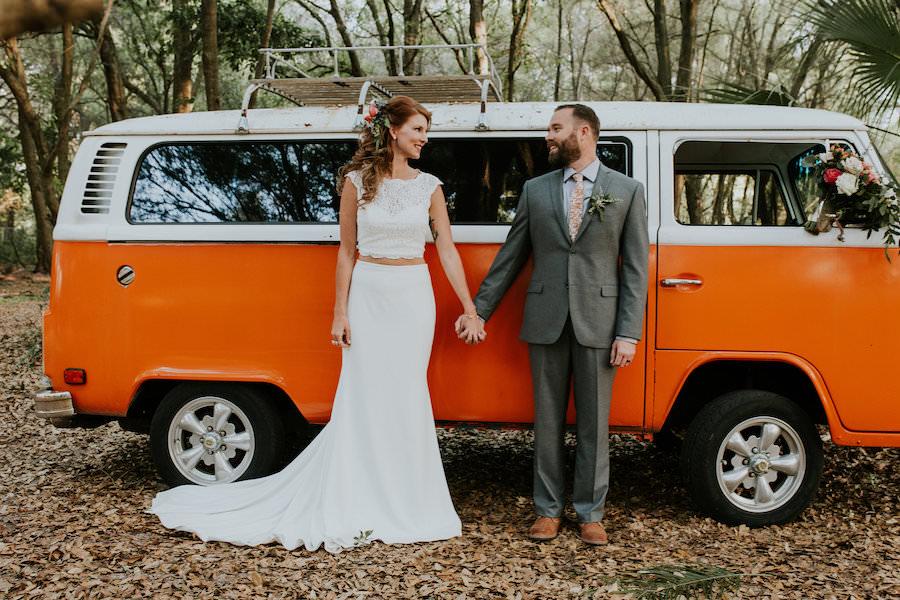 Bride and Groom Wedding Portrait with Orange VW Bus | Retro Vintage Boho Wedding Inspiration | Planner Glitz Events | Outdoor Venue Casa Lantana