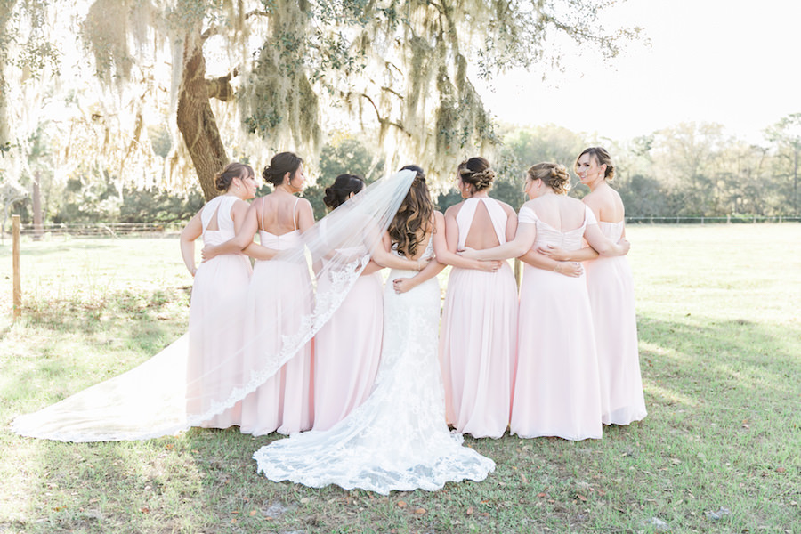 Bridesmaids in Mis-Matched Blush Pink Bridal Party Dresses