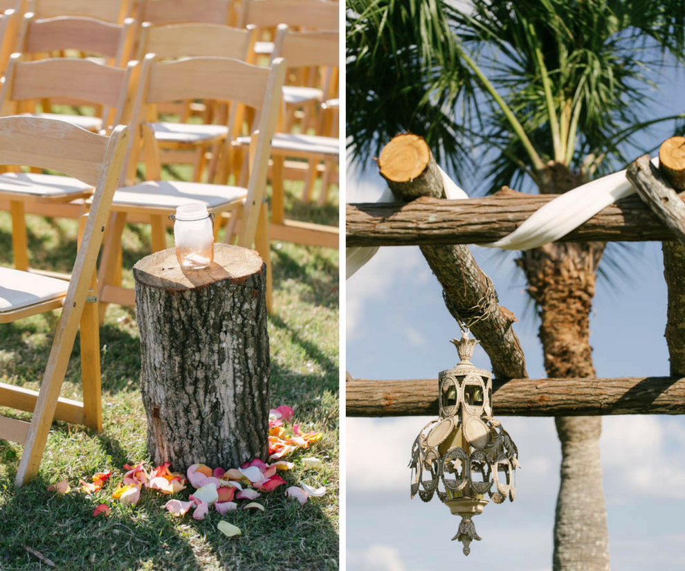 Rustic Wedding Ceremony Decor and Inspiration with Tree Stumps and Pink and White Rose Petals and Vintage Hanging Chandelier   Tampa Bay Wedding Videographer Hatfield Productions
