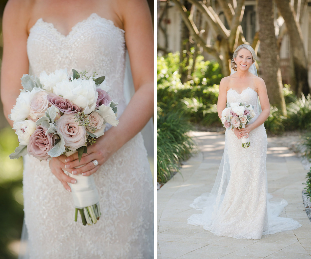 Bride Wedding Day Portrait in Ines di Santo Strapless Sweetheart Wedding Dress with Lace with White and Blush Pink Dusty Rose Wedding Bouquet with Succulents and Greenery | Clearwater Beach Wedding Photographer Marc Edwards Photographs