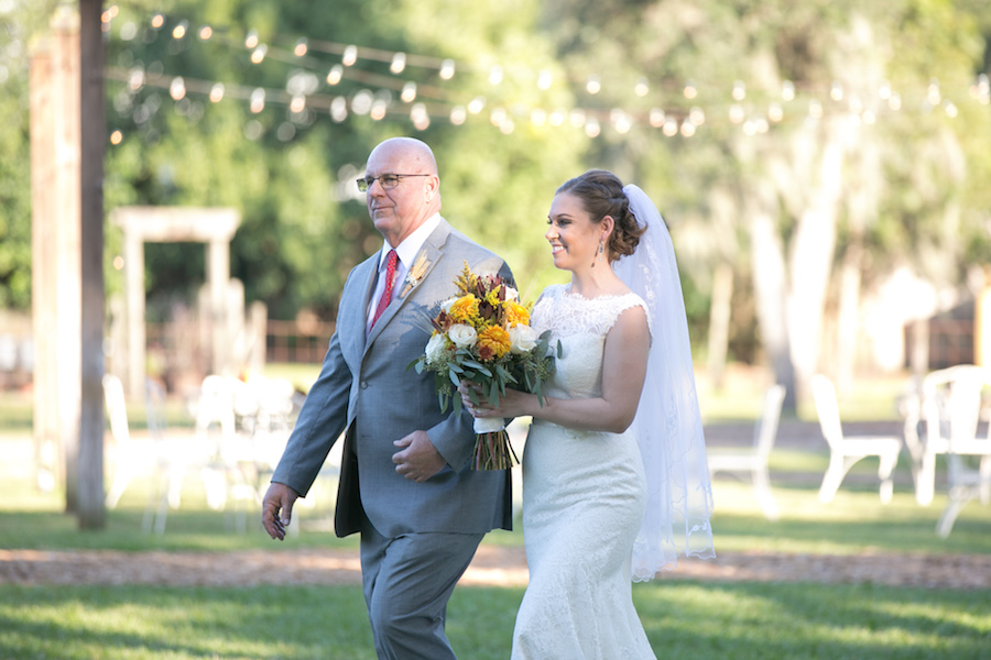 Bride and Father Walking Down the Aisle Wedding Portrait at Cross Creek Ranch | Tampa Bay Wedding Photographer Carrie Wildes Photography