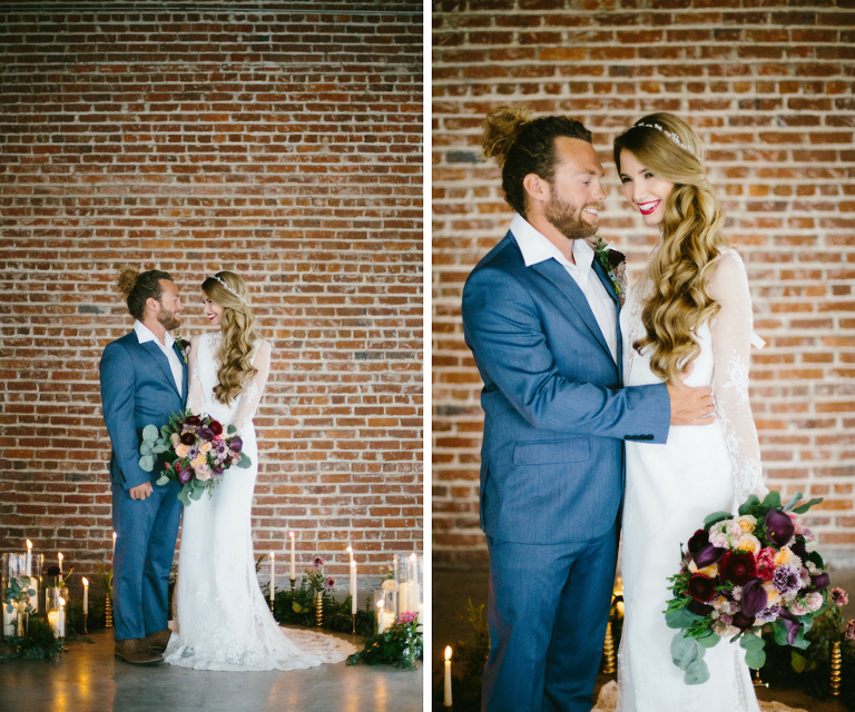 Modern Bohemian Inspired Wedding Styled Shoot Portrait of Bride in Long Sleeve Lace Isabel O'Neil Bridal Collection Wedding Gown and Groom in Grey Suit | Modern Wedding Decor for Exposed Brick Wall Venue | Tampa Bay Wedding Planner Glitz Events